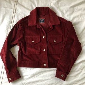 Abercrombie Dark Red Corduroy Cropped Jacket